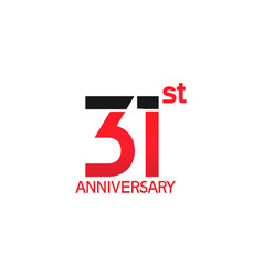 31 years anniversary logotype with black and red vector