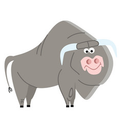 a big bull with long horns with smiling eyes and vector image