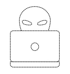 Alien with laptop icon vector