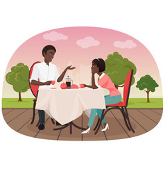 An african couple sitting in the cafe outside vector