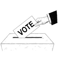 artistic or drawing voters hand putting vector image