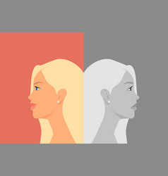 Beautiful young woman with bipolar disorder vector