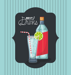 Best drink bottle with cup frame vector