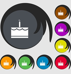 Birthday cake icon sign Symbols on eight colored vector