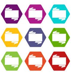 black banner icon set color hexahedron vector image