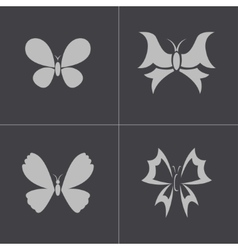 black buttefly icons set vector image