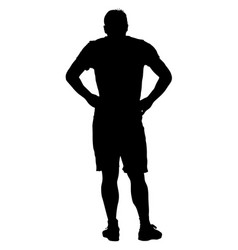 black silhouette man holding hands on his hips vector image