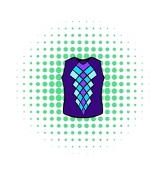 Blue vest icon comics style vector
