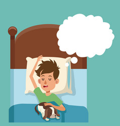 Boy sleep dream with dog in bed vector