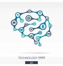 Brain concept with computer technology digital vector