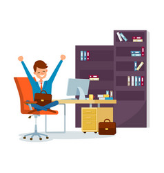 Business worker sitting in chair in office at work vector