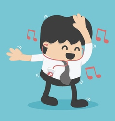 Businessman happy to listen to music in the office vector