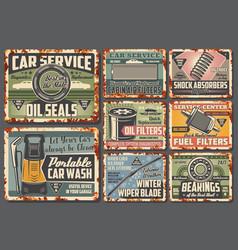 car maintenance service metal signs vector image