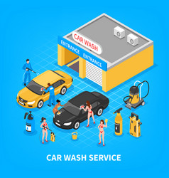 Car wash service isometric vector