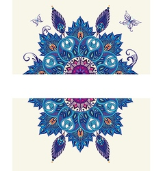 Card with peacock elements and butterflies vector