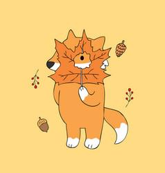 cartoon cute autumn fox and leaves vector image