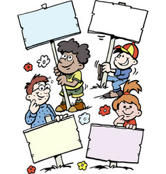 cartoon of of some happy children holding signs vector image