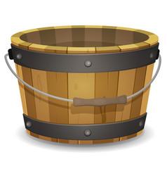 Cartoon wood bucket vector