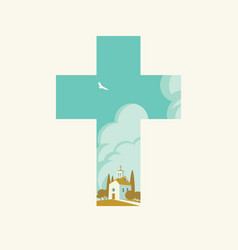 christian cross with cartoon church landscape vector image