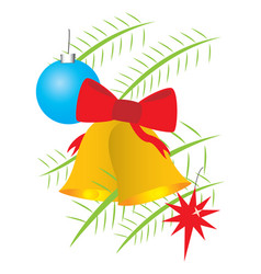 Christmas bells and balls on branches vector