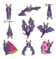 collection funny purple bats cute creature vector image
