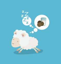 Color background of cute sheep thinking in the vector