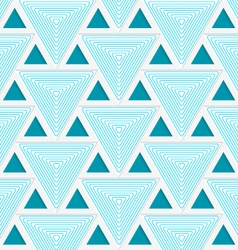 Colored 3d blue striped triangles with grid vector