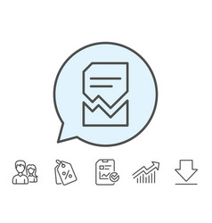 Corrupted document line icon bad file sign vector