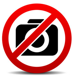 Crossed camera symbol no photo sign with rounded vector
