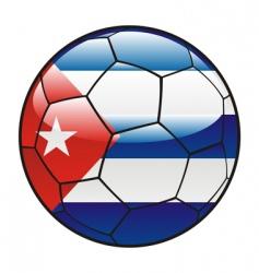 Cuba flag on soccer ball vector