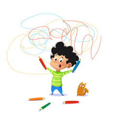 Cute boy paint drawings on the wall vector