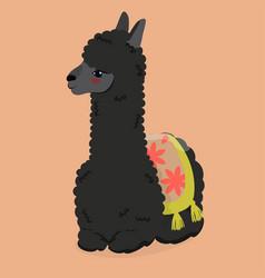 cute fluffy alpaca on an orange background image vector image