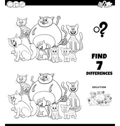 Differences coloring game with cats group vector