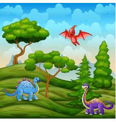 Dinosaurs living in green landscape vector