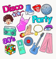 Disco party vintage style doodle with guitar vector