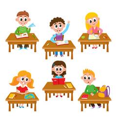 elementary school kids in classroom - reading vector image