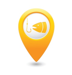 fishing icon yellow map pointer vector image vector image
