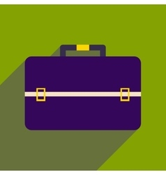 Flat icon with long shadow business bag vector image