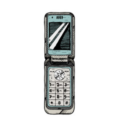 flip phone vector image