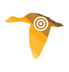 flying duck silhouette with target icon vector image