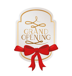 Frame and ribbon with label grand opening vector