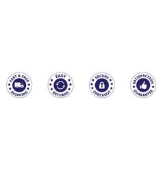 Free shipping trust badges money back guarantee vector