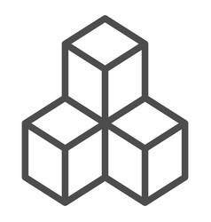 Geometric cubes line icon solution vector