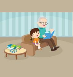 Grandparents with grandchildren reading on sofa vector