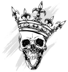 Graphic human skull with king crown vector