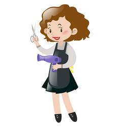 Hairdresser holding scissors and blowdryer vector