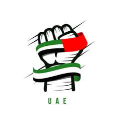 Hand and flag uae template design vector