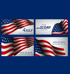 happy independence day set of american banners vector image