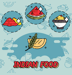 indian food flat concept icons vector image