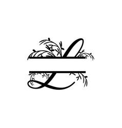 initial l decorative plant monogram split letter vector image